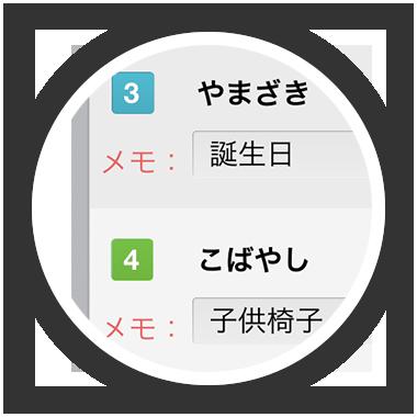 myJunban マイジュンバン 追加情報もメモ欄に記入できます
